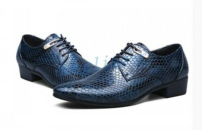 US 5-13 Men's Snakeskin Leather Pointed Toe Lace Up Formal Dress Low Heels Shoes