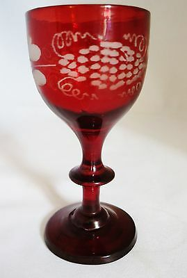 Victorian Bohemian Ruby Red Flash Glass Etched Grapevine Liqueur Glass (ref A11)
