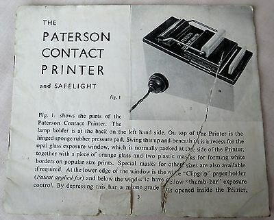 Paterson Contact Printer Instructions