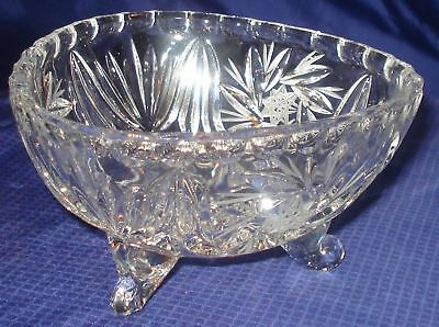 RP824 Vtg EAPG Clear Glass Footed Candy Dish Bowl Pinwheel