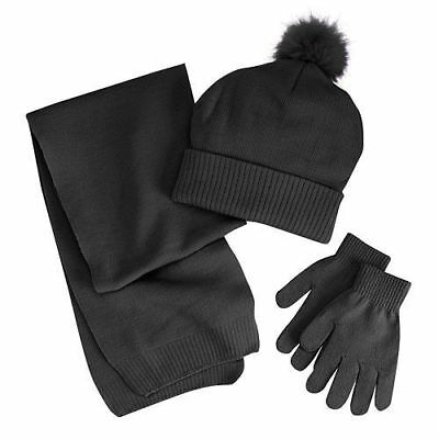 NWT Berkshire Girls 3-Pc Cold Weather Scarf Hat & Gloves Set Black Free Shipping