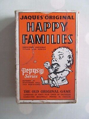 Vintage Happy Families Card Game Pepys Series / Jaques Original - Grotesque