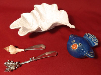 Mud pie Oak Leaf Terracotta Dip Bowl & Figural Oakleaf & Shell Cheese Spreaders+