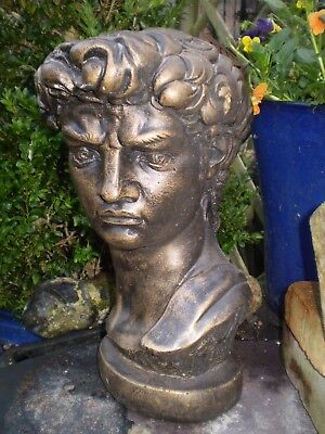 Vintage English 1930's Ceramic Garden Statue Bust Of David,king David