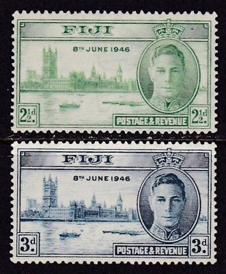 Fiji #137-138 Mh End Of World War Ii Peace Issue Back Is Shown