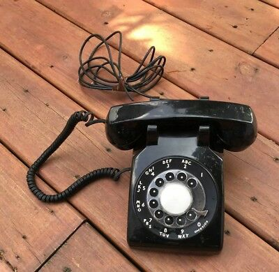 Vintage Western Electric AT&T Black Rotary Telephone - CS500DM