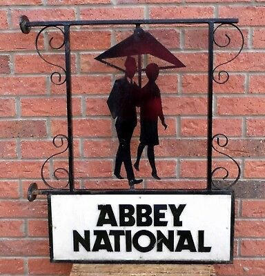 RARE VINTAGE ABBEY NATIONAL WROUGHT IRON DOUBLE SIDED BANK SIGN - CIRCA 1950's