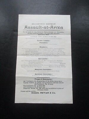 1904 Assault At Arms Calcutta Race Course India Programme