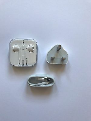 Apple Earpods, Lightening Cable + Plug for iPhone -- 100% Authentic