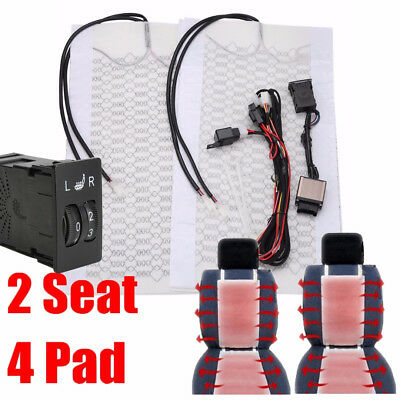 4pcs 2Seat 12V Carbon Fiber Car Heated Seat Heater Pad High/Low Round Switch New