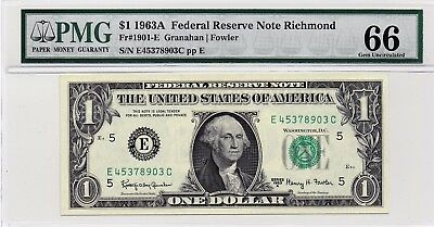 $1 1963A Federal Reserve Note Richmond S/N E45378903C PMG 66 Gem Unc