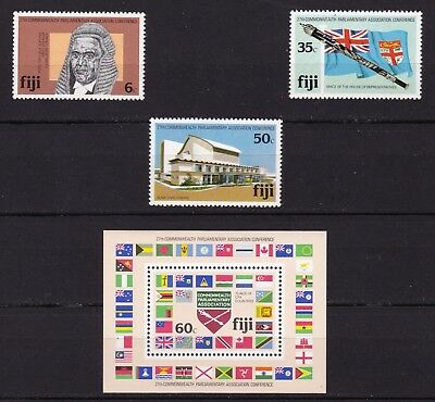 FIJI #450-453 MNH 27th COMMONWEALTH PARLIAMENTARY CONF. S/S WITH NATION'S FLAGS