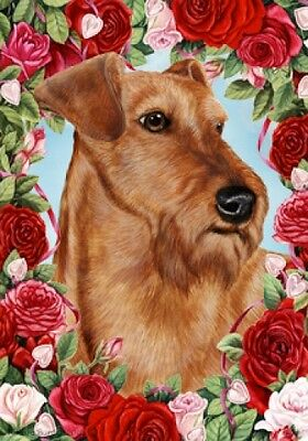 Large Indoor/Outdoor Roses Flag - Irish Terrier 19220