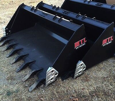 "72"" Severe Duty Tooth / Dirt Bucket w/ side cutters skid steer Bobcat-Ship $149"