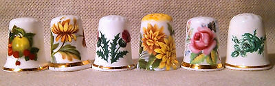 Set of Six Floral and Fruit Themed Thimbles