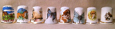 Set of Eight Animal Themed Thimbles
