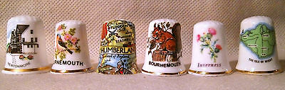 Set of Six UK Topographical Themed Thimbles