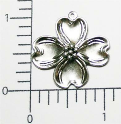 30304         2 Pc  Matte Silver Oxidized Victorian Dogwood Charm Finding