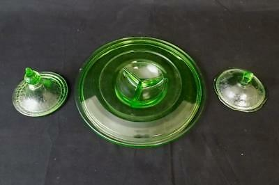 Lot of 3 Green Depression Glass Replacement Lids 2 Candy Jar / Dish 1 Casserole