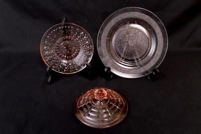 Lot of 3 Pink Depression Glass Mixed Patterns/Items - Saucer Bread Plate Lid