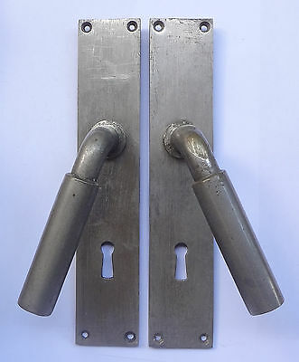 Lot 2 Original Vintage Door Metal Lever Handles + Backplates Free Shipping