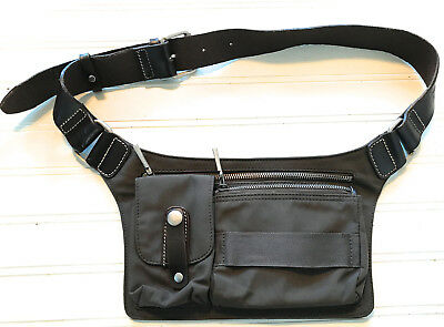 Roots Army Green Urban Nylon And Leather  Waist  Wallet Fanny Pack Euc