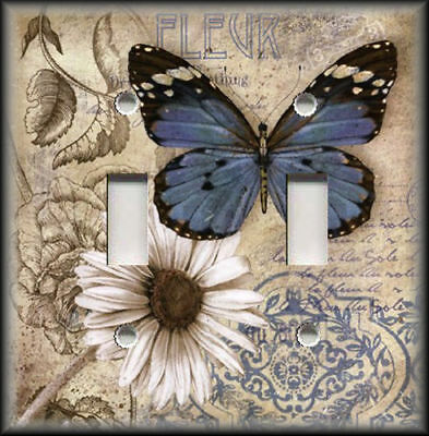 Metal Light Switch Plate Cover Blue Butterfly Daisy Flower Vintage French Decor