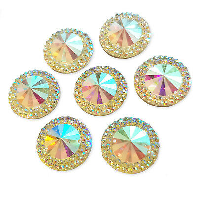 10pcs 16mm AB Round Sew On Gems Acrylic Rhinestone Costume Embellishments