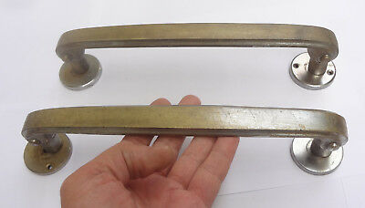 Lot 2 Vintage Solid Brass Door Large Push-Pull Handles 16 5/8'' + Backplates