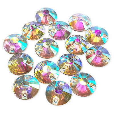 50pcs 12mm Round AB Sew On Flatback Gems Resin Rhinestone Costume Embellishments