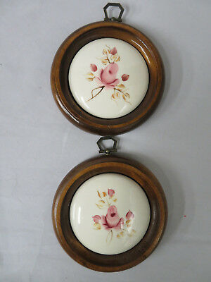 2 Vintage Lasting Products Wood Frame Porcelain Pink Rose Wall Plaques (P4)