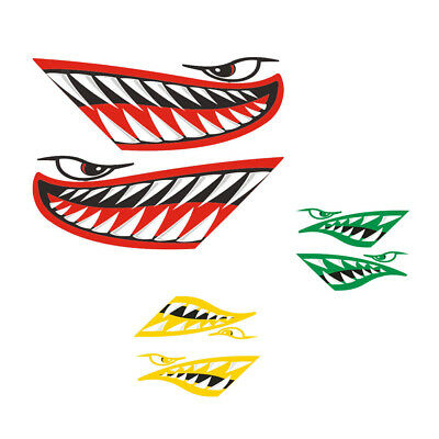 2x Vinyl Shark Teeth Mouth Decal Stickers for Boat Airplane Motorcycle Car Truck