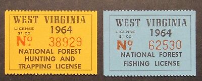 1964 West Virginia Hunting Trapping and Fishing Stamps - Mint NH Full Gum