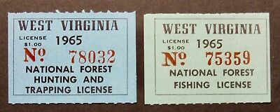 1965 West Virginia Hunting Trapping and Fishing Stamps - Mint NH Full Gum