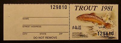 1981 Missouri Trout Fishing Stamp - Mint - NH - Full Gum with Tab