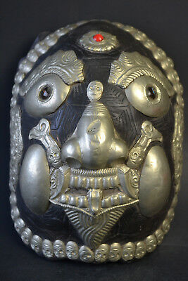 Fine Vintage Collectible Old Mask Inlay Tibet Silver Decor Divination Statue