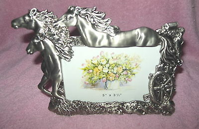 Beautiful Pewter Horses Equestrian Themed Picture Photo Frame New