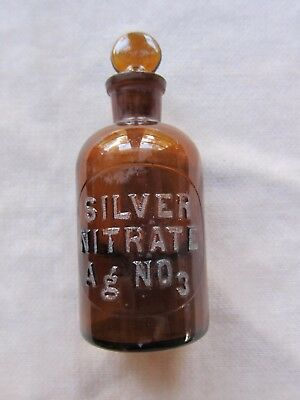 "Amber Early 1900's Etched Silver Nitrate Ag NO3 Bottle TCW Co. 5 1/4""x2 1/8"" GC"