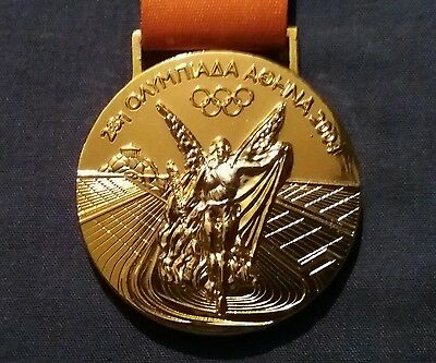 2004 Athens Greece Olympic Games Winners Gold Medal Replica With Ribbon Souvenir