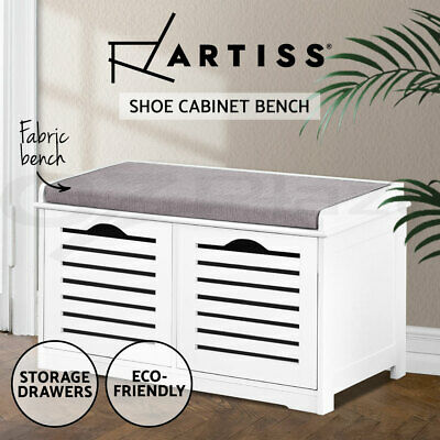 Portable Wooden Shoe Rack Storage Bench Organiser Fabric Seater Stool Drawers