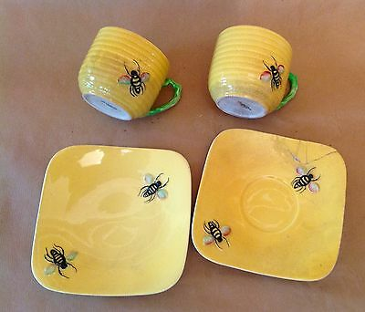 Rare Carlton Ware honey bee tea cups, saucer and plate for restoration