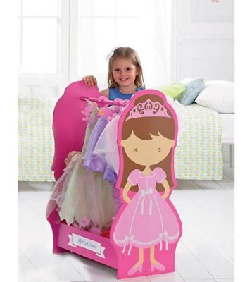 New Personalised KIDS Childrens WOODEN Dressing Up Rail Girls PRINCESS Any Text