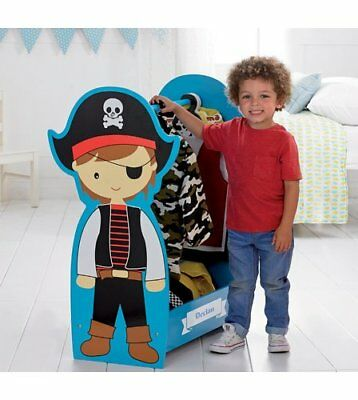 New Personalised KIDS Childrens WOODEN Dressing Up Rail Boys PIRATE Any Text