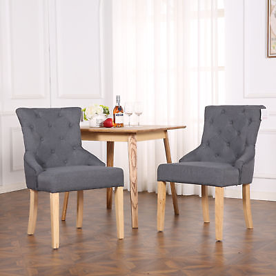 Premium Linen Fabric Dining Chairs Scoop Button Back Lounge Office Dark Grey