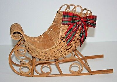 """8"""" x 12"""" Woven Wicker SLEIGH w Plaid Christmas Ribbon on Side-Ready to Fill"""