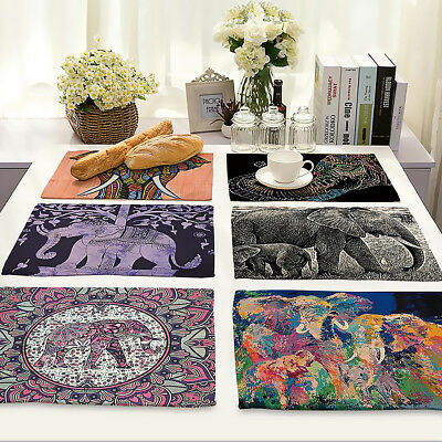Kitchen Washable Table Mat Non-slip Heat Insulation Dining Placemat Elephant