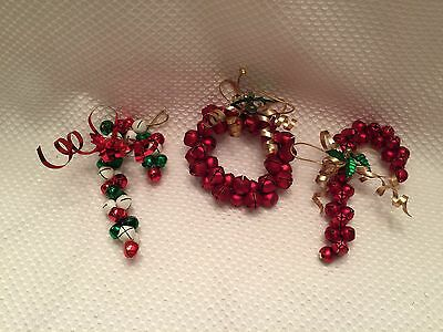 """Jingle Bell Christmas Wreath Ornament & Candy canes Lot Of 3 Holiday 4"""" & 5"""""""