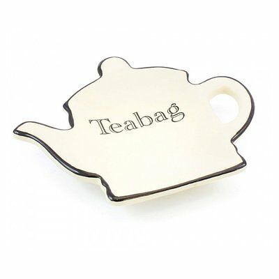New Lesser And Pavey Cottage Cream & Black Pottery Teabag Holder Tidy LP28588