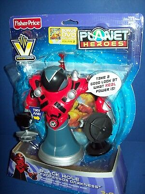 PLANET HEROES BLACK HOLE 'Professor Darkness' Fisher-Price VOICE COMM NEW