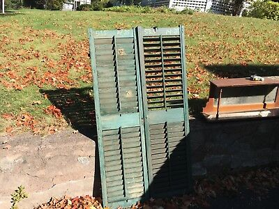 PaiR 19th century louvered VICTORIAN house SHUTTERS Old green paint 53.5 x 14.25